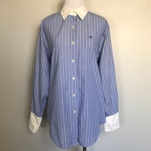 RALPH LAUREN Blue/White Striped Button Down Shirts